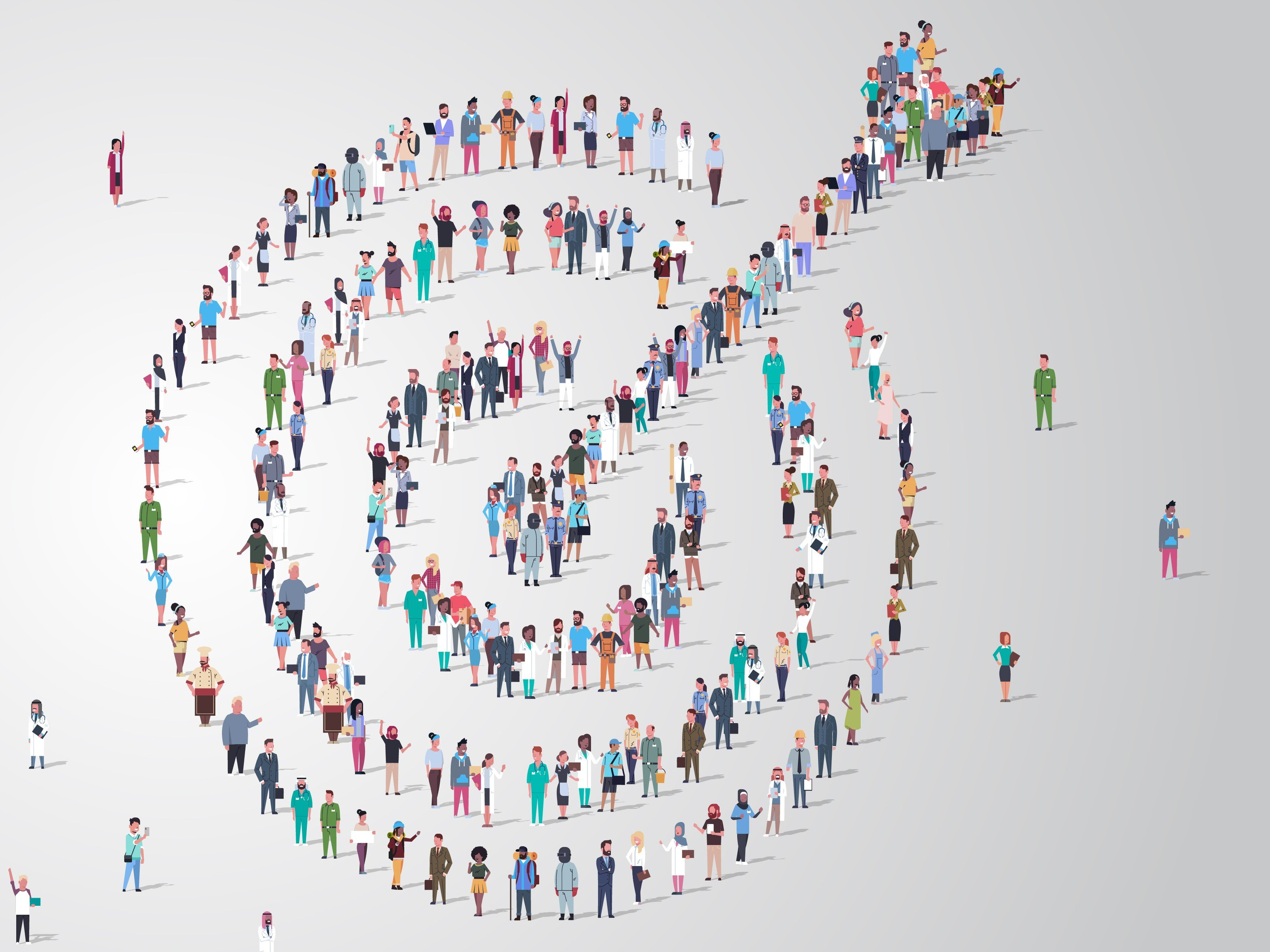 colorful, aerial drawing of people forming an arrow in a bullseye, grey background